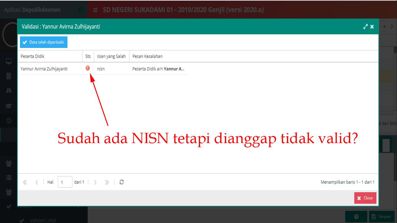 NISN tidak Valid pada Peserta Didik Kelas 1 (Dapodik versi 2020a)