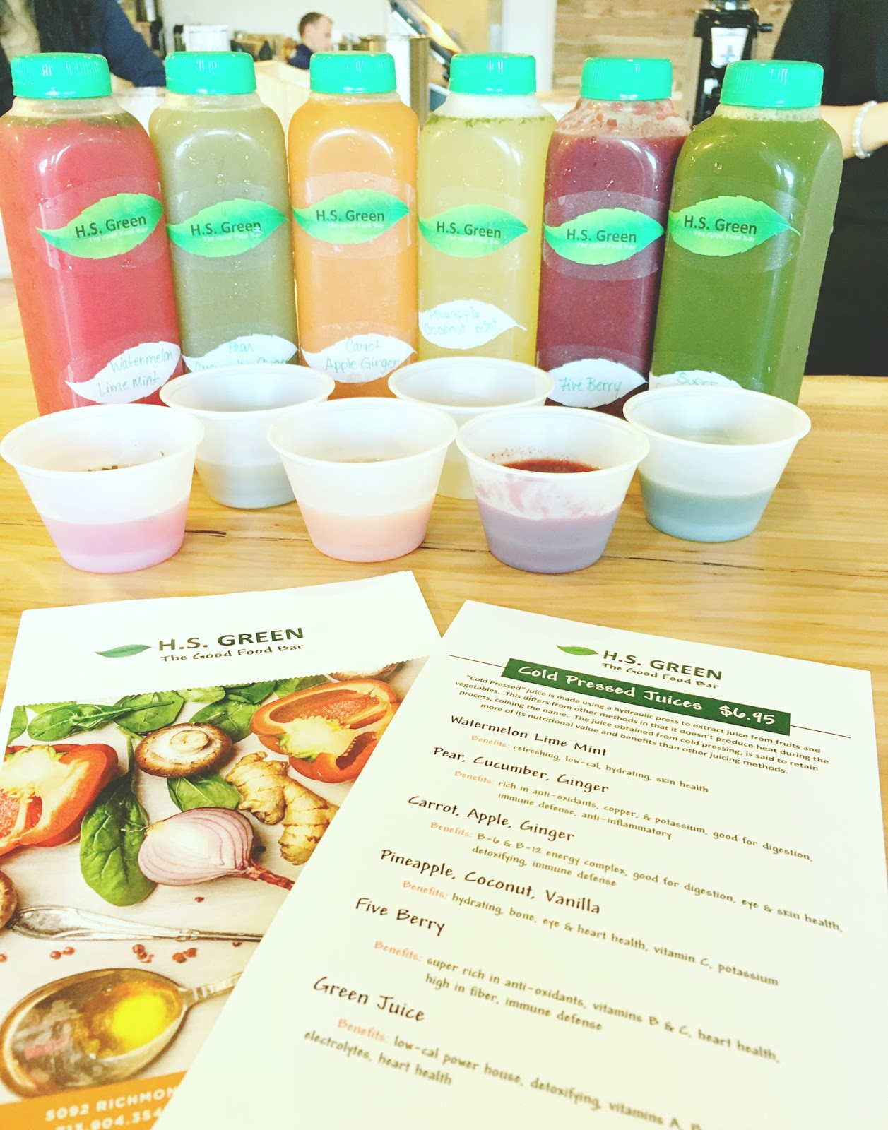 fresh juices at H.S. Green - A healthy restaurant in Houston, Texas