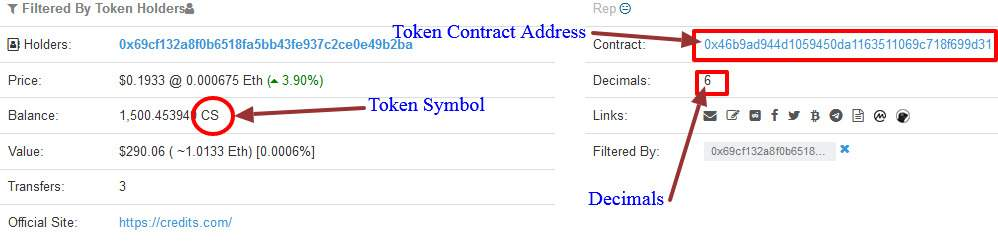 find out token contract address, symbol and decimals