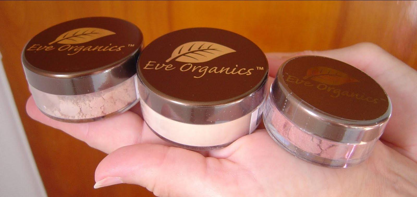 Eve Organics mineral foundation, setting powder and blush.jpeg