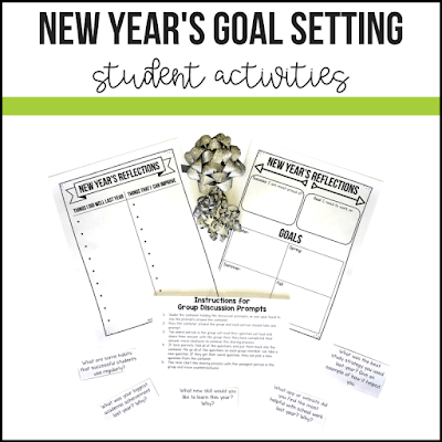 FREE: New Year's Goal Setting Activity and Reflection Sheets. This no prep - just photocopy and go activity gets students excited and engaged during their first week back at school. Help your students self-reflect with this step-by-step goal setting activity. #newyearsresolutions #newyears #goalsetting #teacherspayteachers