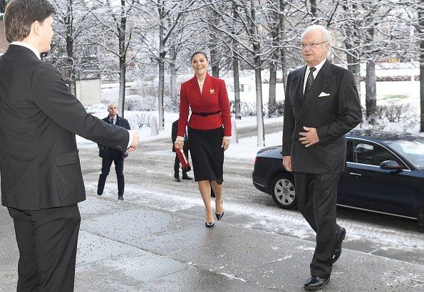 King Carl XVI Gustaf and Crown Princess Victoria attended the seminar at Riksdag