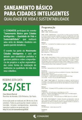 CONSAÚDE participará de evento sobre saneamento básico