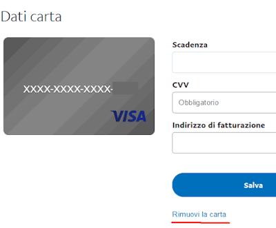 Come rimuovere una carta di credito dall'account Paypal