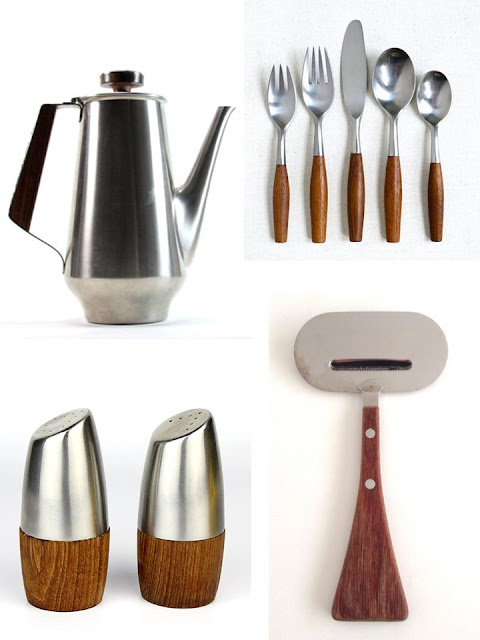 From upper left Coffee Pot Flatware set Cheese Grater Salt and Pepper set  sc 1 st  Studio Garden \u0026 Bungalow & Studio Garden \u0026 Bungalow: Danish Modern: Steel and Wood Tableware ...