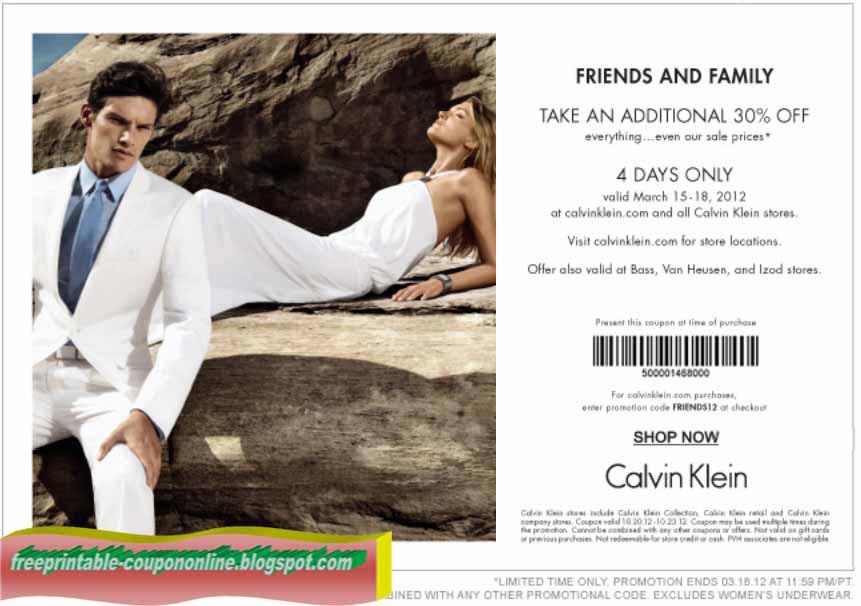 Calvin klein discount coupon