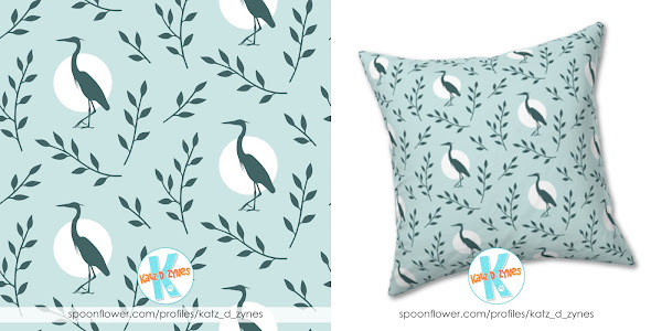 Heron with branches pattern for pine and mint throw pillow design challenge on Spoonflower