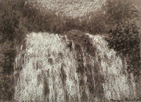 Demo work of Abbey Falls created during charcoal workshop by Manju Panchal