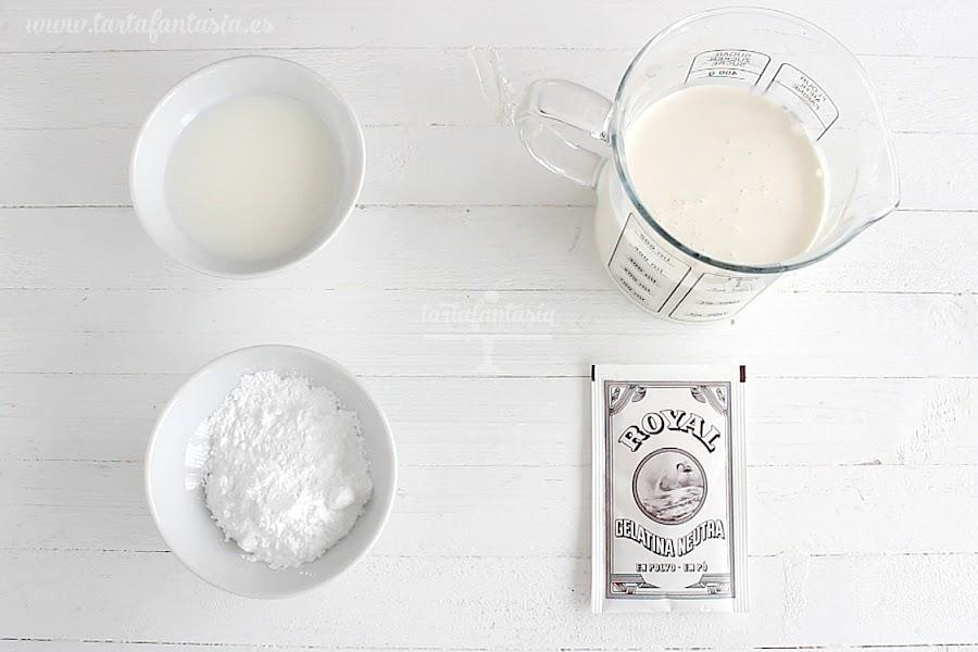 Ingredientes para la Nata (crema de leche) o crema de leche extra firme