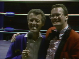 NWA CLASH OF THE CHAMPIONS 1 - 1988: Jim Cornette with Ken Osmond from Leave it to Beaver