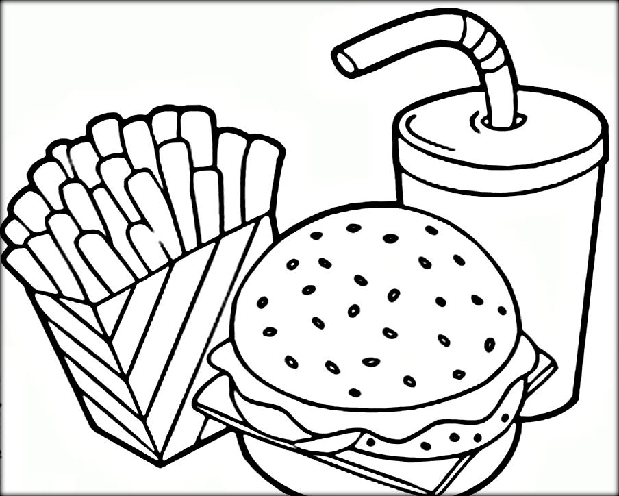 healthy fast food coloring pages - photo#1