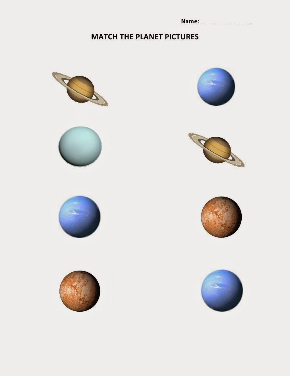 Kids Page Match Solar Planets Picture Worksheet