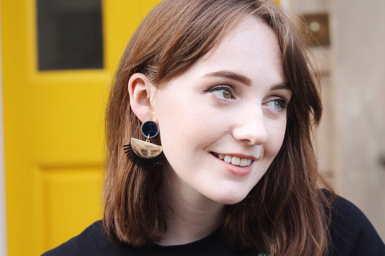 Liverpool blogger ASOS gold, black and blue fan earrings