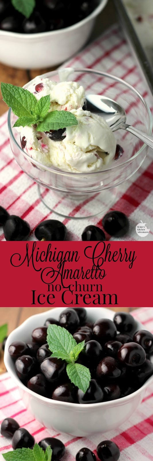 Michigan Cherry Amaretto No-Churn Ice Cream | by Renee's Kitchen Adventures - easy no-churn ice cream recipe for Amaretto ice cream with fresh Michigan cherries. DELISH! #cherry #icecream