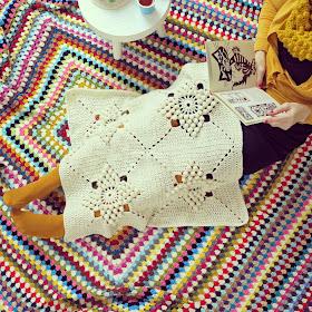 ByHaafner, crochet, vintage pattern, popcorn stitch, granny square, crochet blanket
