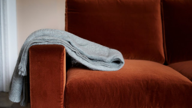 Sofa with throw