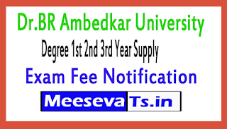 Dr.BR Ambedkar University Degree 1st 2nd 3rd Year Supply Exam Fee Notification