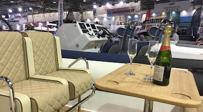 Pic on Champagne and glasses on boat at London Boat Show 2017