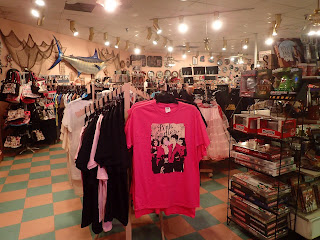 Pink Ladies tee shirt and other souvenirs at gift shop in Peggy Sues Diner Barstow