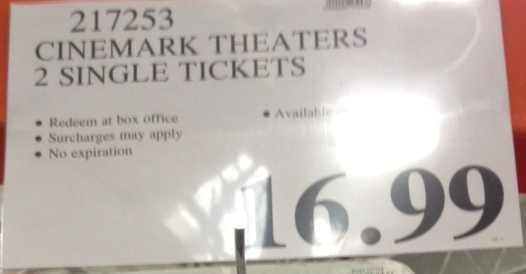 Cinemark Theaters Movie Tickets (qty 2)   Costco Weekender