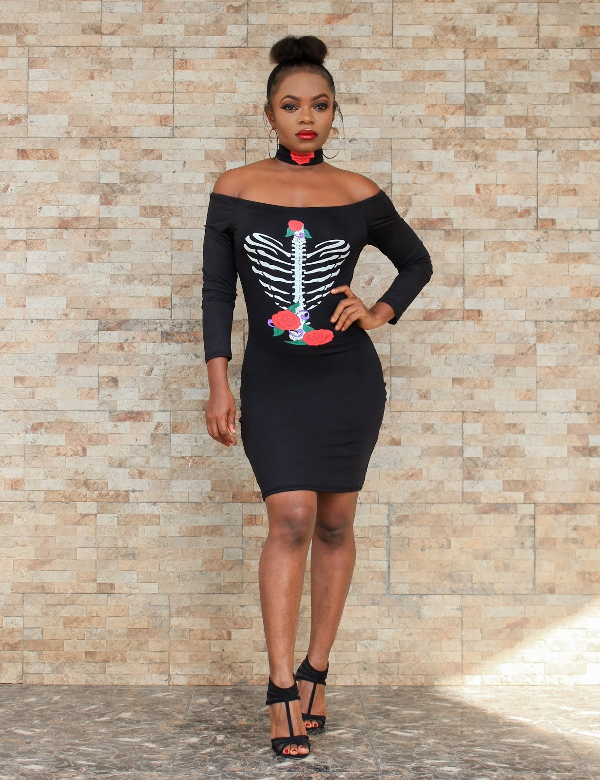 HALLOWEEN INSPIRED -  Off-shoulder Heart Print Mini Dress