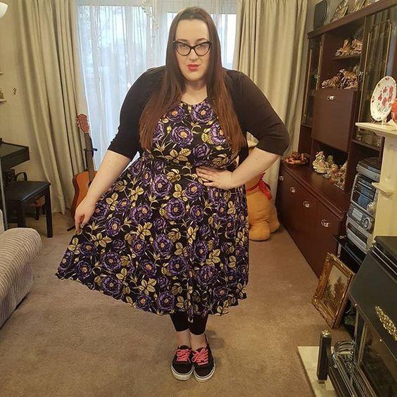 Lady V London Purple Floral plus size Dress