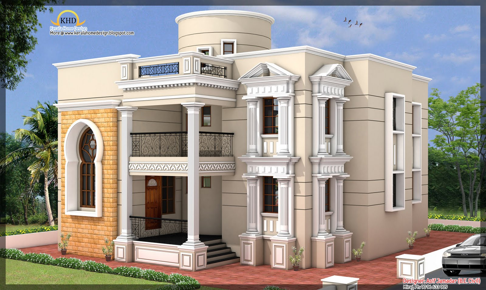 House elevation 3881 sq ft kerala home design and for Narrow floor plans with front elevation