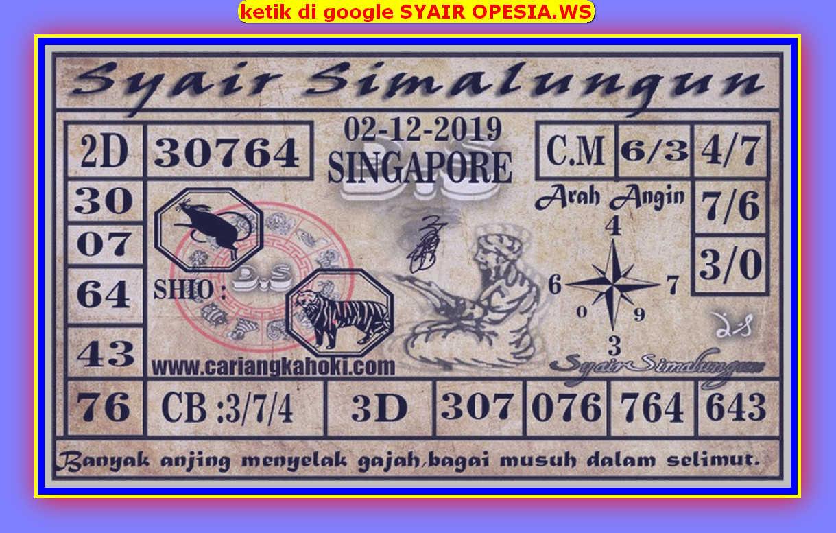 Kode syair Singapore Senin 2 Desember 2019 65
