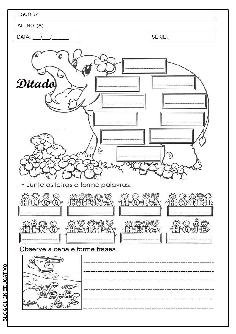 1º Ano Atividade Com Letra H Para Imprimir Clicks Educativos