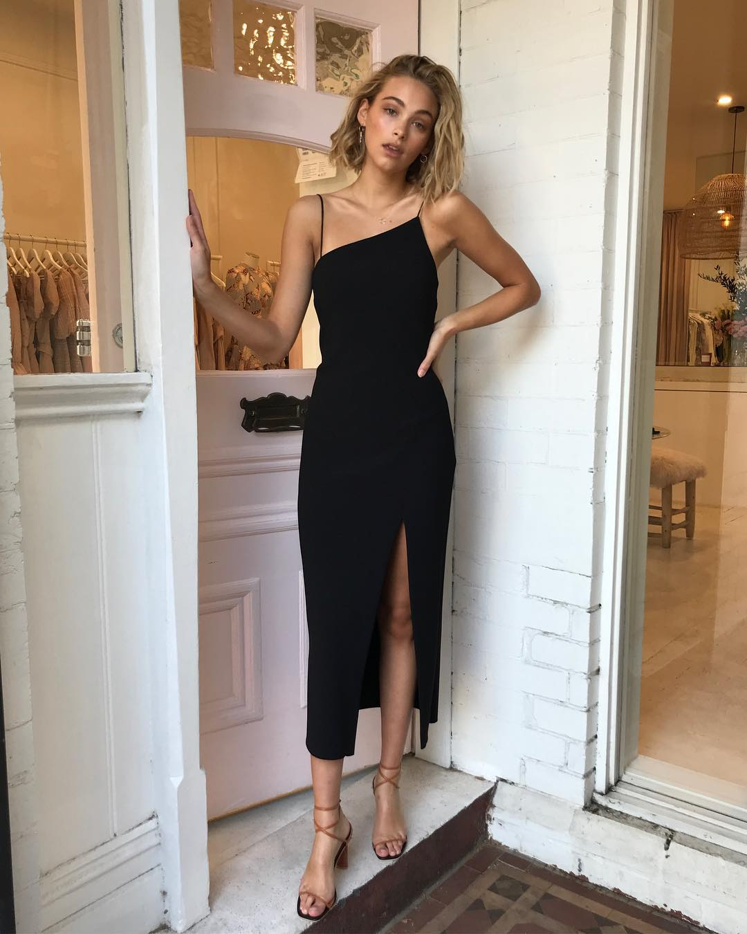 An Easy Yet Stylish Outfit Idea for a Summer Wedding — Black Cami Dress and Nude Sandals