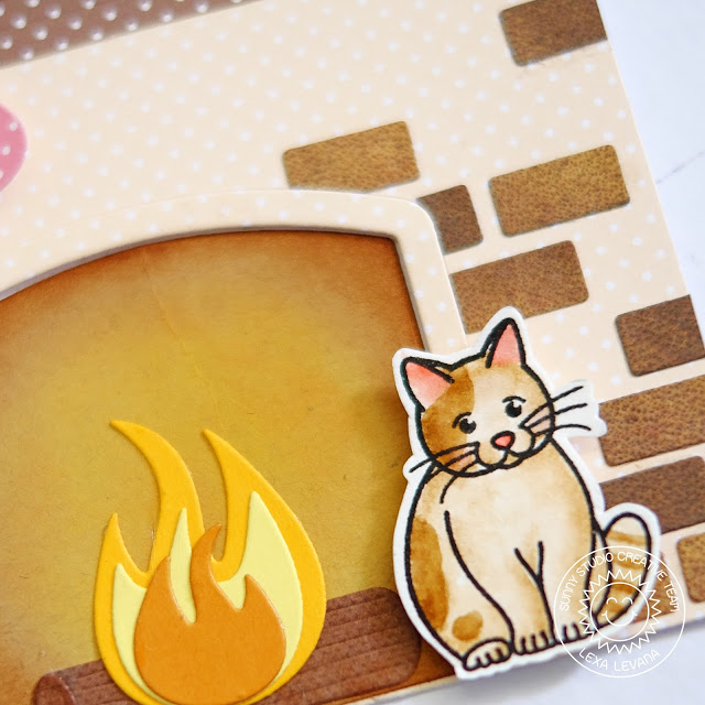 Sunny Studio Stamps: Fireplace Shaped Dies Nontraditional Colored Christmas Card by Lexa Levana