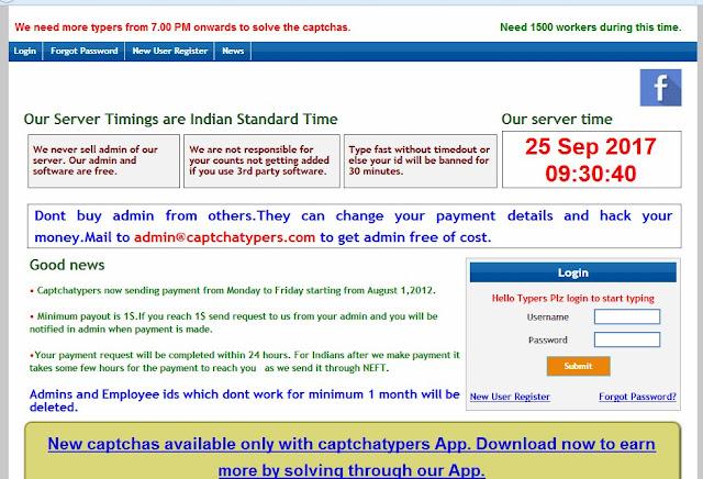 Register in Captchatyper for captcha typing job