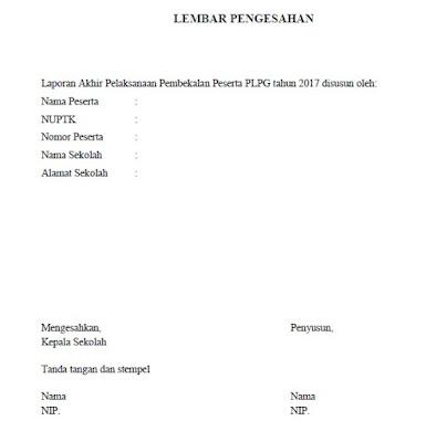 Contoh Laporan Akhir Pembekalan PLPG 2017 Lengkap