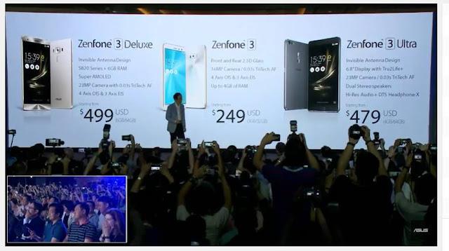 Harga dan Spesifikasi Asus Zenfone 3, Deluxe, Ultra
