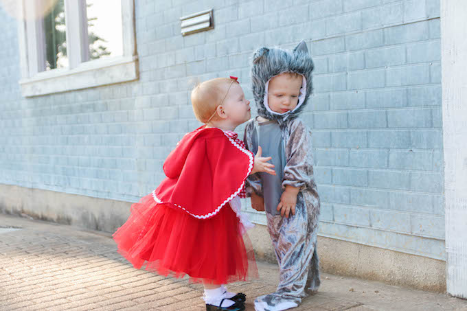 red riding hood costume, childrens halloween costume, twin halloween costume, kids halloween costume, twin costume, baby costume, lover dovers, halloween dress, princess dress, toddler halloween costume, wolf costume, baby halloween costume, storybook halloween costume, red riding hood dress, twin outfits, halloween costume inspiration, twin halloween costume ideas