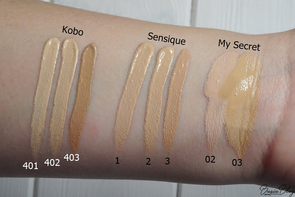 kryjący korektor Kobo, Sensique, My Secret swatch blog