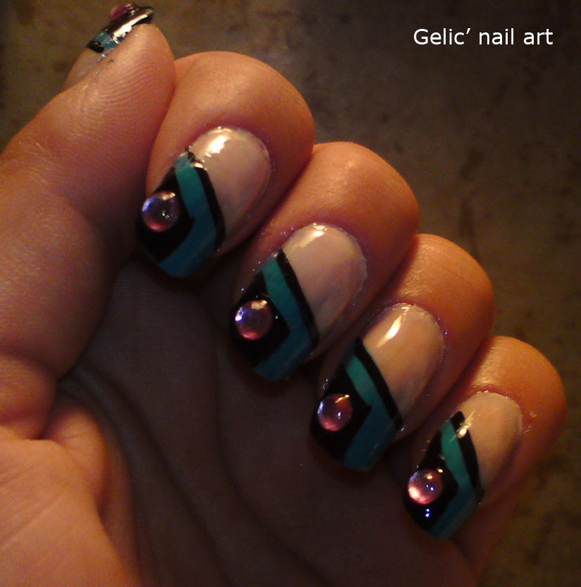 Gelic' Nail Art: Teal Blue Sloping Funky French With Large