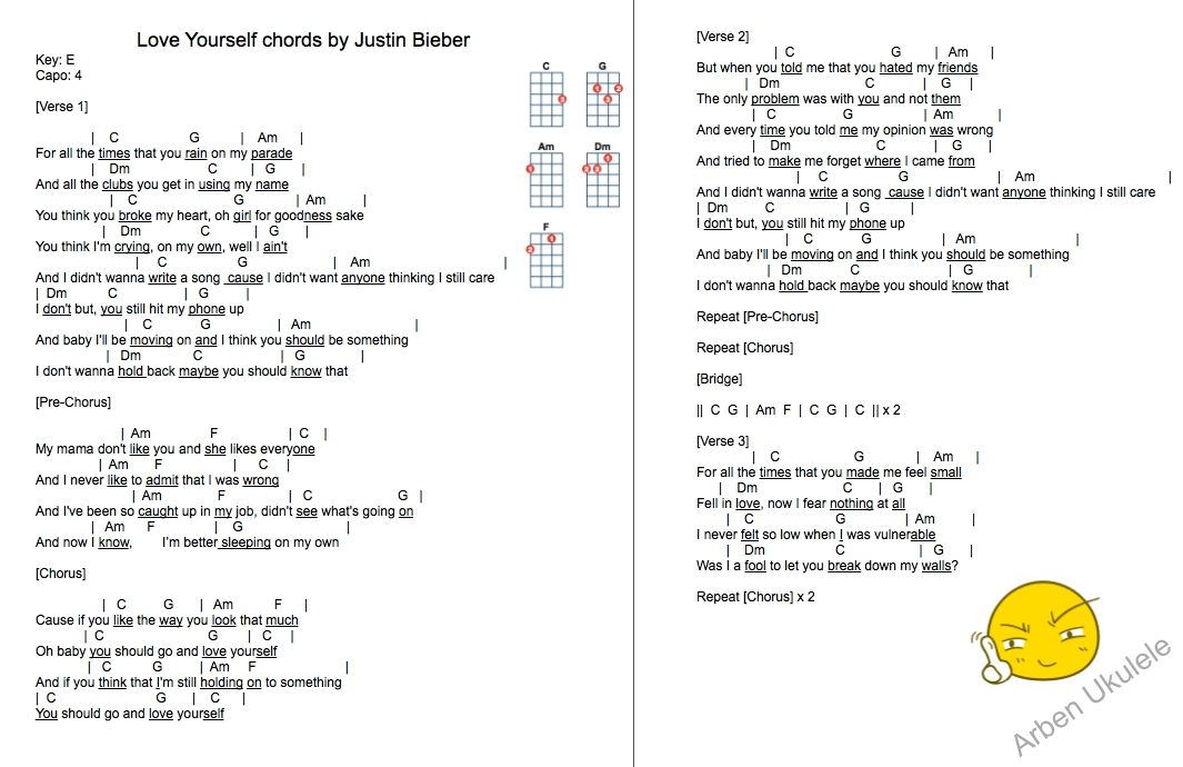 Justin Bieber Love Yourself Ukulele Chords Idea Gallery