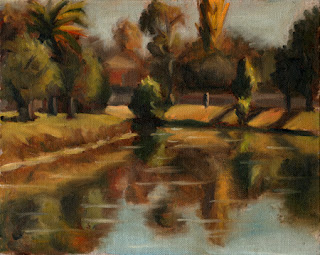 Oil painting of a river scene with trees on each bank reflected in the water.