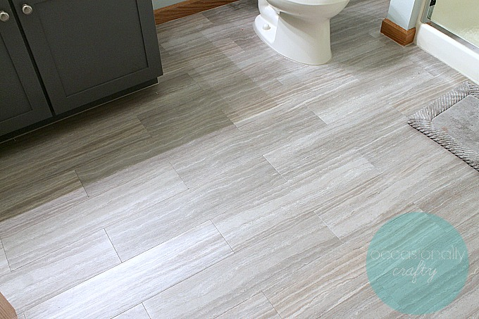 Floor makeover with self-adhesive vinyl tile