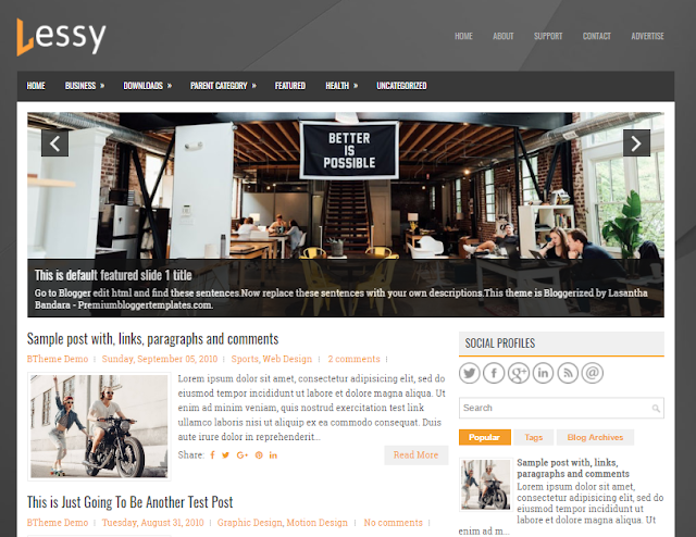 Lessy Blogger Template