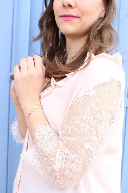 blouse en dentelle rose