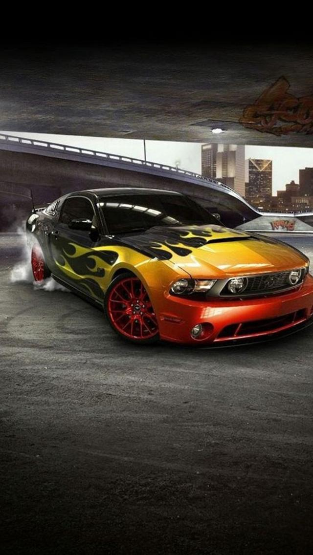 iphone 5 wallpapers hd: COOL MUSTANG FRONT CAR IPHONE 5 WALLPAPERS