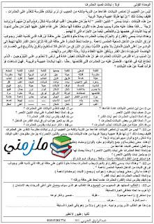 مذكرة عربي للصف الرابع الإبتدائي الترم الثاني