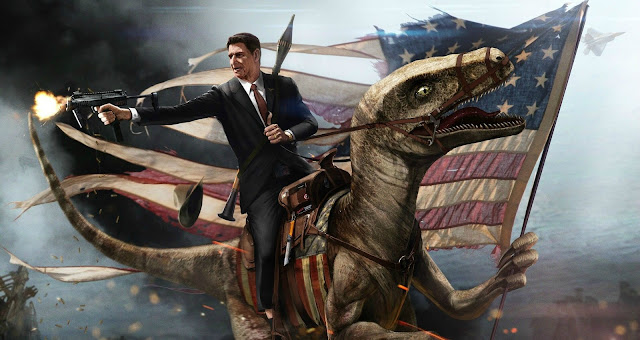 Ronnie Reagan firing a semi-automatic riding a velociraptor who is holding the American flag. Reaganites. marchmatron.com