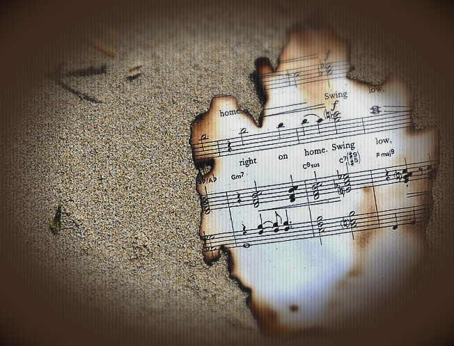 burnt music on the sand
