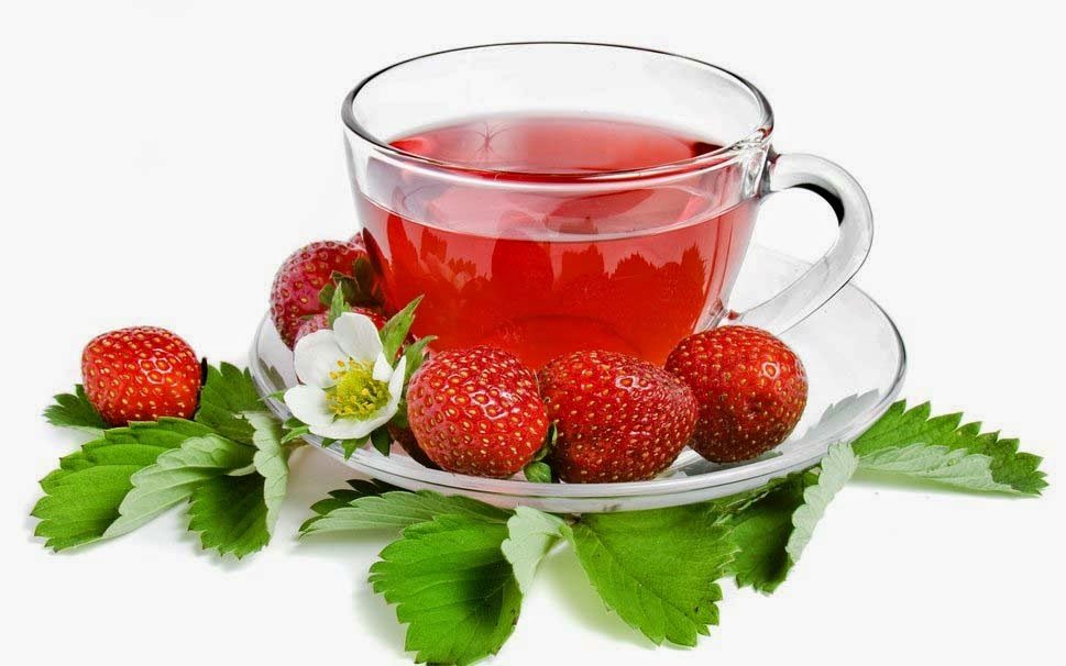 tea-with-strawberry-saucer-leaves-images