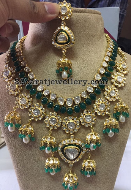 Jhumka Pattern Polki Diamond Necklace