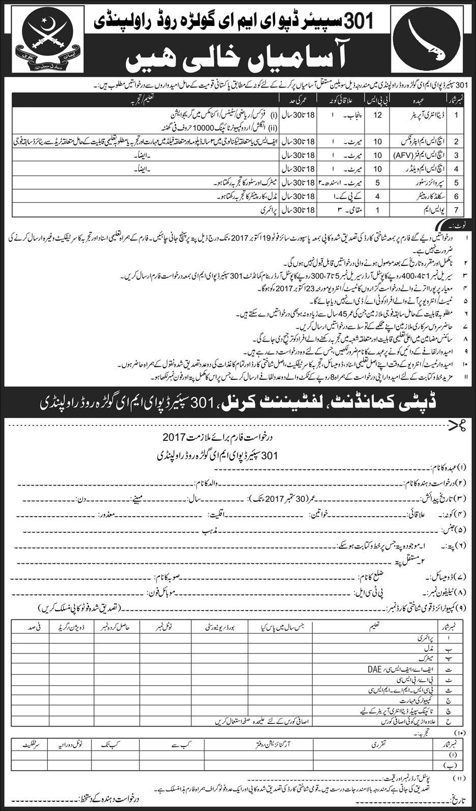 Jobs in 301 spares depot eme Golra Road rawalpindi Oct 2017