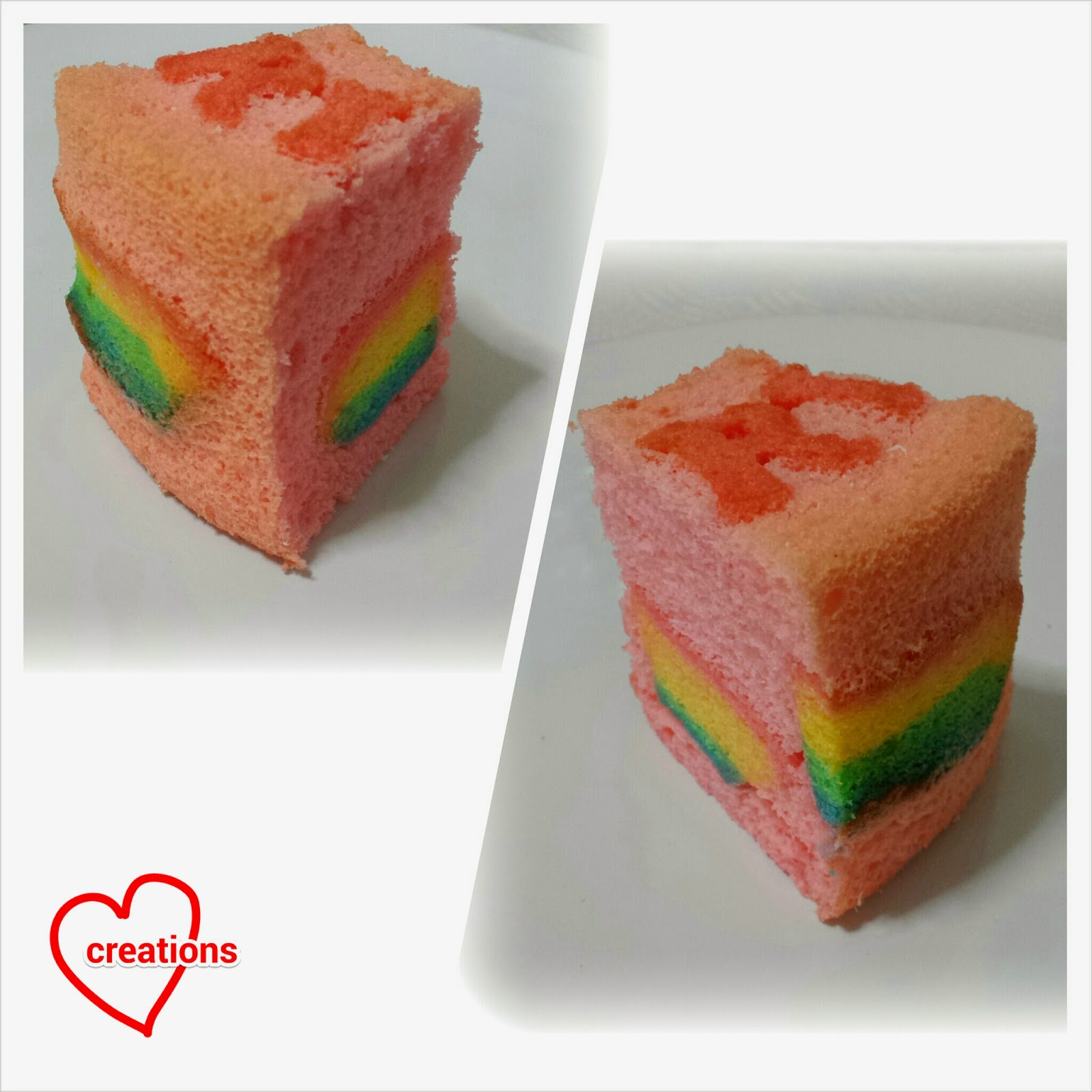 Loving Creations for You: Hidden Rainbow Strawberry Chiffon Cake for Baby Shower
